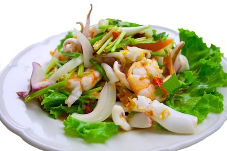 Seafood with salad photo