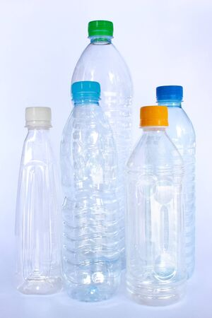 In several style of plastic bottles for drinking water photo