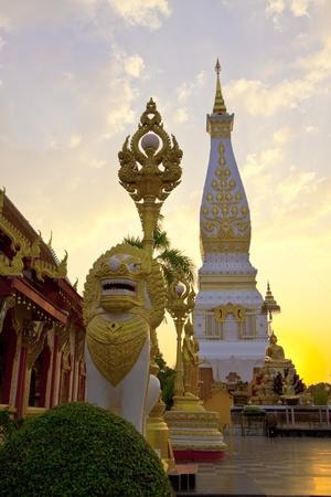 thai arts: Pra-thart Pa-nom at sunset time,Thailand