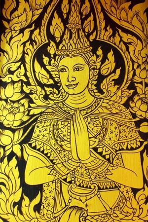 lotus temple: illustration of a thai angel on door of Wat Sung-men,Phrae