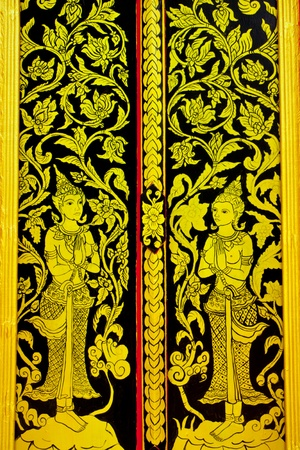 Door of Wat Bo Kaew,Phrae,Thailand photo