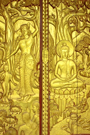 Legend of door about Buddhism in Thailand