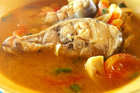 Kod  fish soup,food of hot and spicy photo