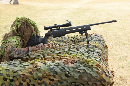 sniper training: The sniper and training for Stock Photo