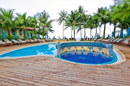 Swimming pool with coconut and ocean background
