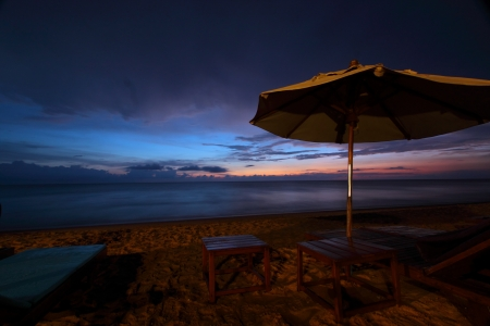 restfulness: Sunset at Khao Lak beach,Pang-nga,Thailand Stock Photo
