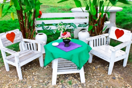 The reception set in garden Stock Photo - 16478872