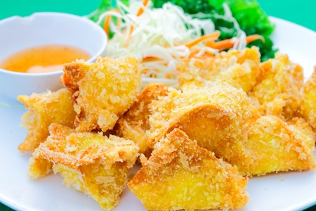 bean curd: Fried square of bean curd Stock Photo