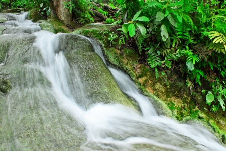 The cascade on basalt stone,Nam Pu Jed See,Chiang Mai,Thailand photo