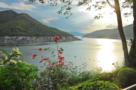 On evening at riverside in Bhumibol dam,Tak,Thailand photo