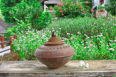 Drinking pot from earthenware Stock Photo