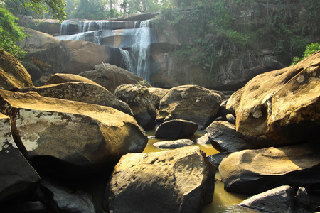 rill: TadHuang waterfall,the waterfall on the border between Thailand and Lao
