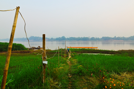 civilians: Civilians pier between Thailand and Lao in countryside