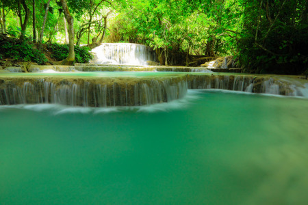 rill: Tad Kwang See waterfall,turquoise color water in north Lao
