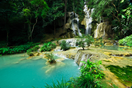 wilding: Tad Kwang See waterfall,turquoise color water in north Lao