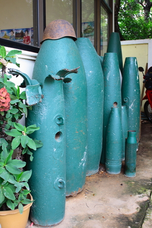 Old bomb become decoration in Lao
