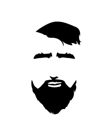 Bearded Man Face Icon. Hipster Style.