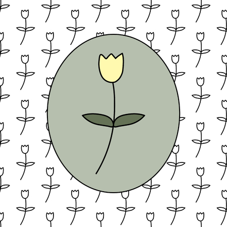 Floral pattern with flower in the center