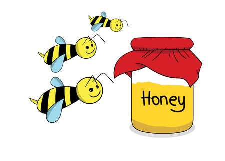 Bees and honey in the jar
