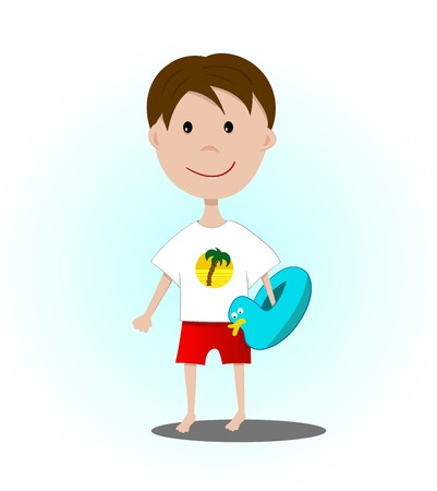 The boy is going swimming with inflatable circle Stock Vector - 57228924