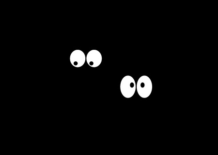 Two pairs of eyes in the dark Stock Vector - 59162240