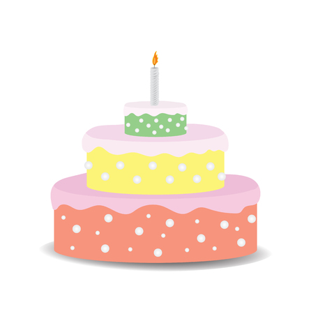 Cake with candle on white background Stock Vector - 59162318