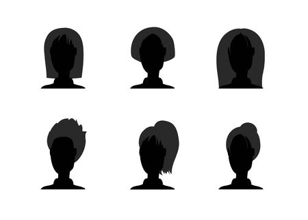 Set of black silhouette girl head with different hairstyle