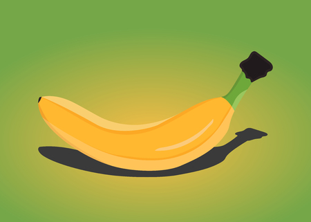 Banana on green background