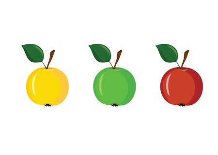 3 apples of different colors on a white background