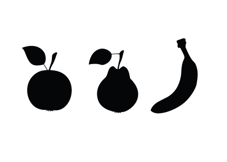 Black silhouette of Apple, pear and banana