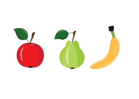 banana sheet: Apple, pear and banana on a white background Illustration