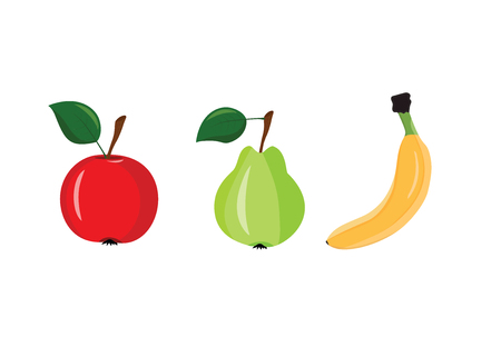 Apple, pear and banana on a white background Illustration