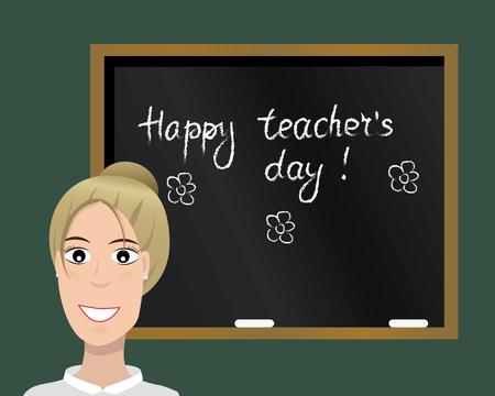 Happy teacher's day card. Vector illustration. Cartoon character. Isolated. Stock Vector - 65315337