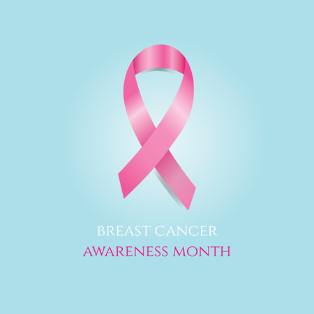 Breast cancer awareness month. Pink ribbon on blue background