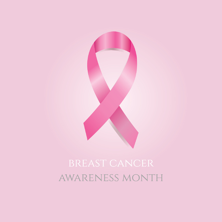 Breast cancer awareness month. Pink ribbon on pink background Illustration