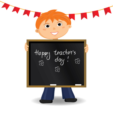 Happy teacher's day card. Vector illustration. Cartoon character.