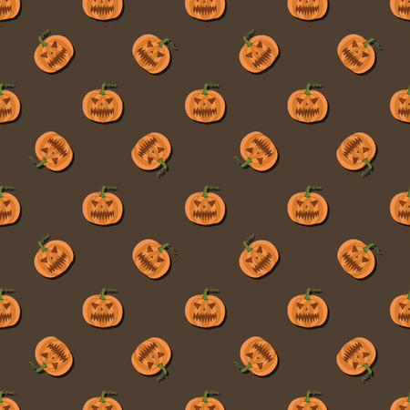 Pattern of pumpkins on brown background for Halloween Stock Vector - 65315382