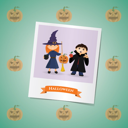 Photo of girl and boy in costumes of witches and Dracula's on the Halloween Illustration