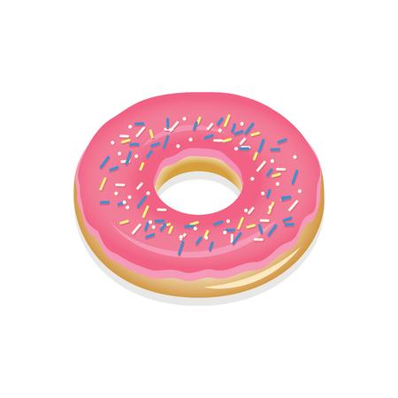glaze: Donut with pink glaze. Donut vector illustration