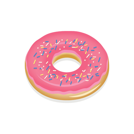 Donut with pink glaze. Donut vector illustration