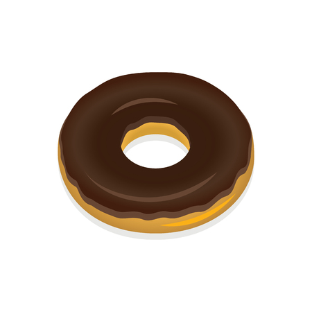 Donut in chocolate glaze on a white background