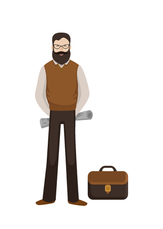 Man with a paper and briefcase. Vector Illustration