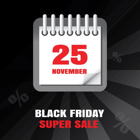 Black Friday sale calendar background Illustration