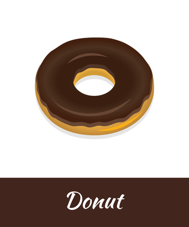 Donut vector food isolated on white background. Fresh chocolate doughnut brochure Breakfast