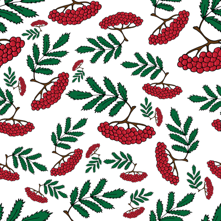 Seamless pattern from Rowan branches on a white background