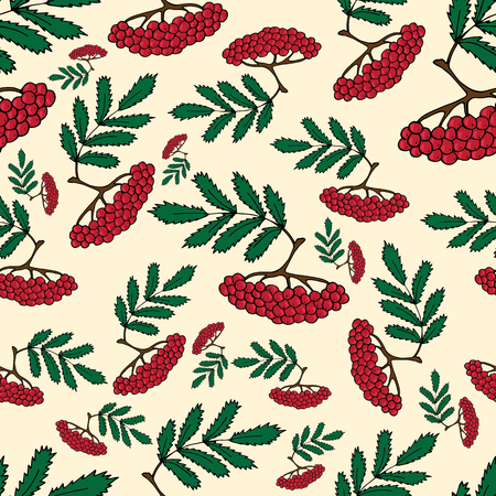 Seamless pattern from branches of mountain ash on a beige background