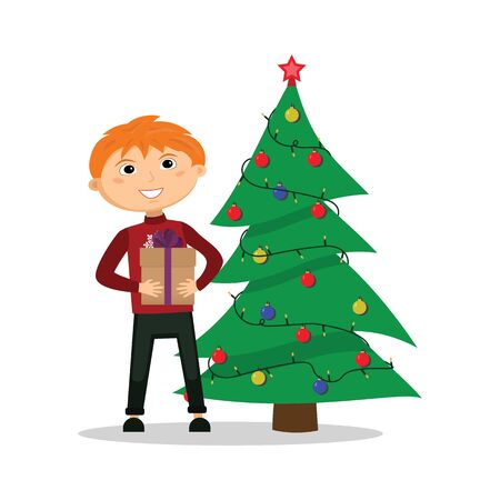 Boy with a gift in hands near the Christmas tree. Vector illustration.