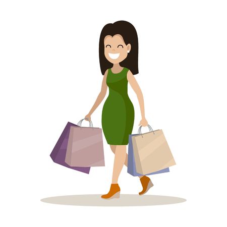 Young woman with shopping. The purchase of goods and gifts. Vector illustration