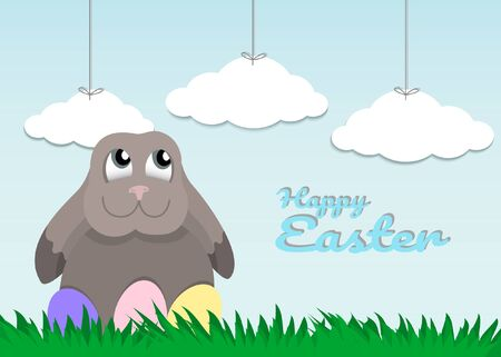 Easter (Pasch). Rabbit and Easter eggs on meadow. Vector illustration. Illustration