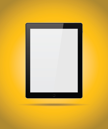 palmtop: Black tablet mock up isolated on yellow background vector design